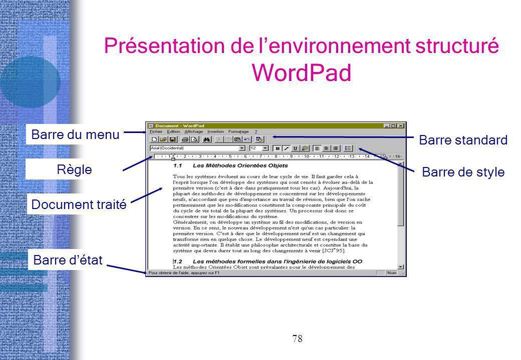 78 Présentation de lenvironnement structuré WordPad Barre du menu Barre standard Barre de style Règle Document traité Barre détat