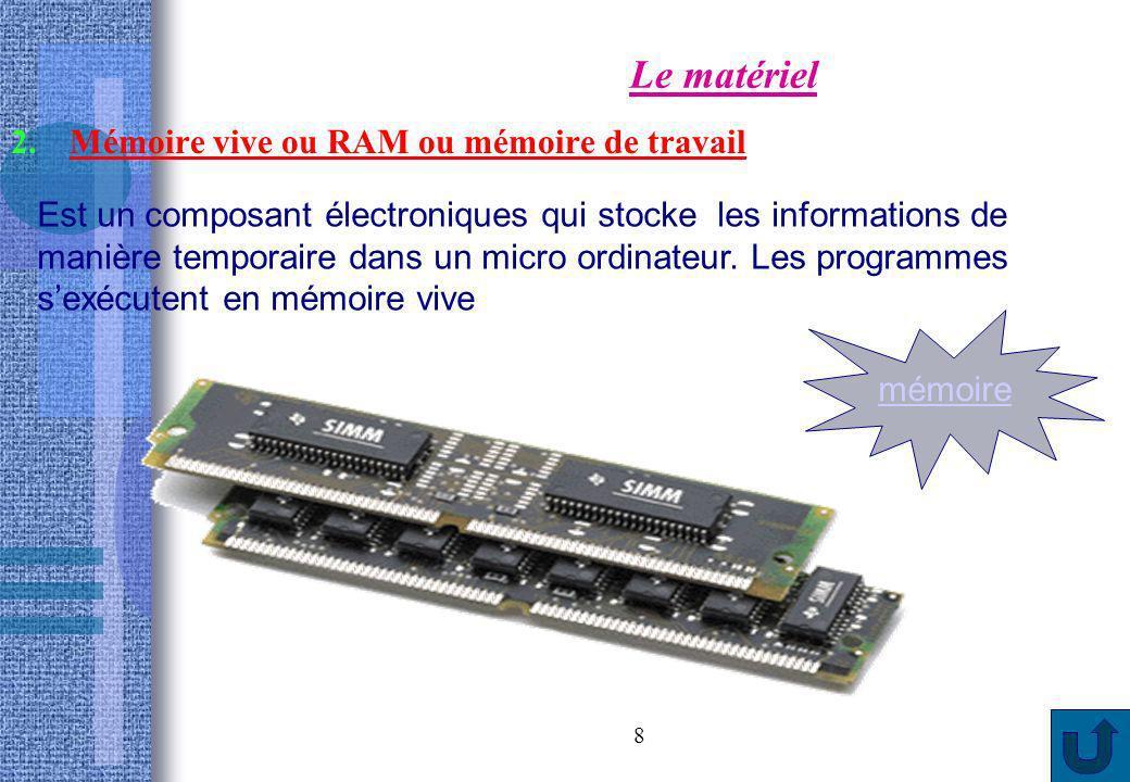8 Le matériel 2.Mémoire vive ou RAM ou mémoire de travail Est un composant électroniques qui stocke les informations de manière temporaire dans un mic