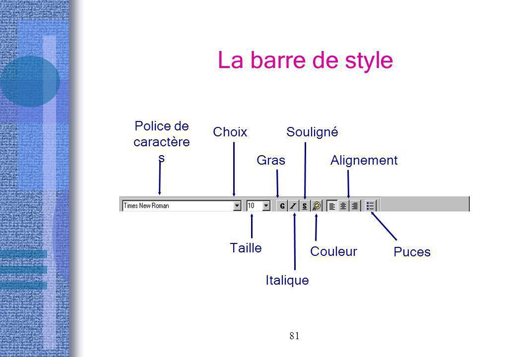 81 La barre de style Police de caractère s Gras Choix Taille Italique Souligné Couleur Alignement Puces