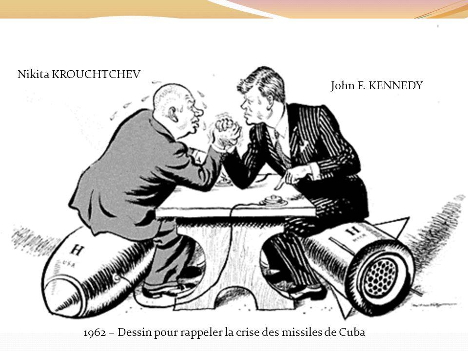 1962 – Dessin pour rappeler la crise des missiles de Cuba Nikita KROUCHTCHEV John F. KENNEDY