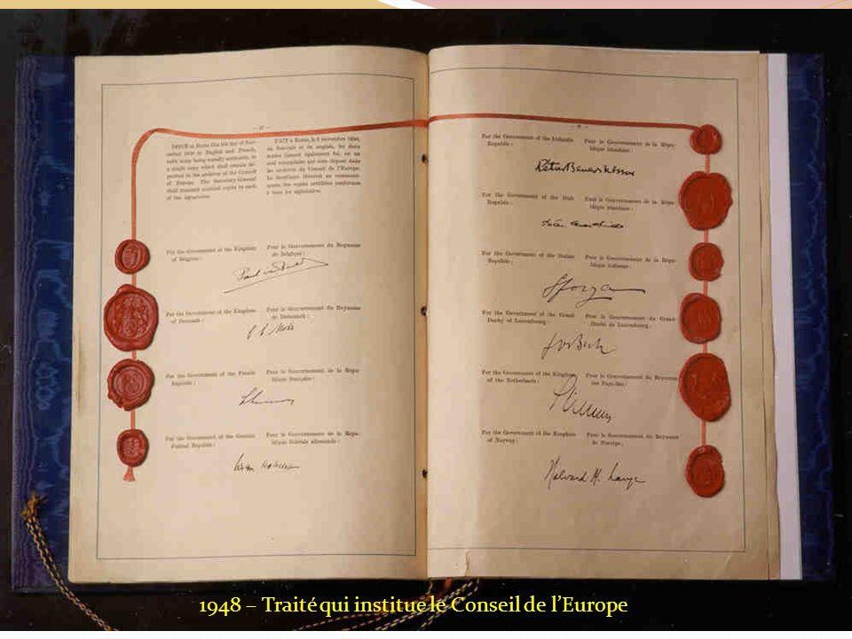 1948 – Traité qui institue le Conseil de lEurope