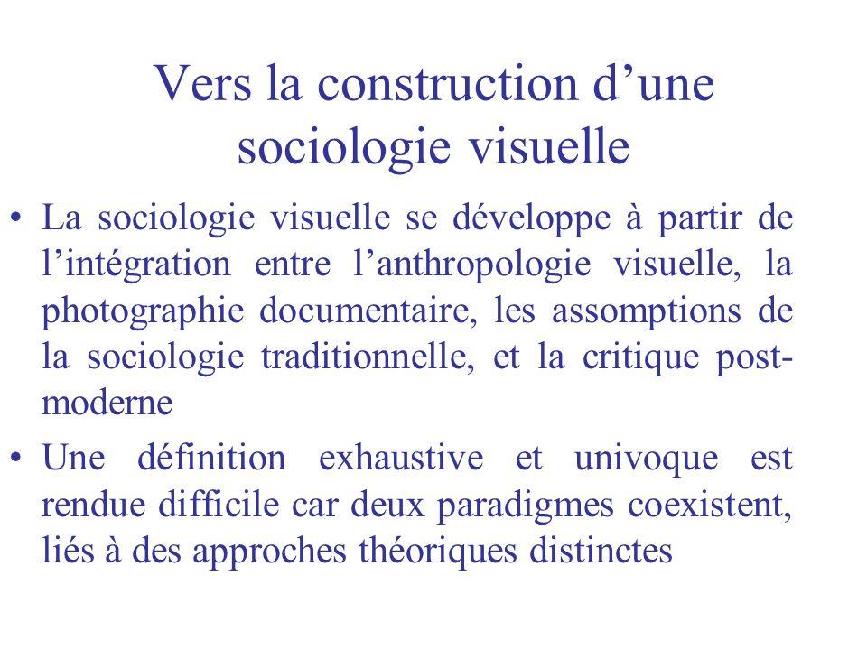 Vers la construction dune sociologie visuelle La sociologie visuelle se développe à partir de lintégration entre lanthropologie visuelle, la photograp