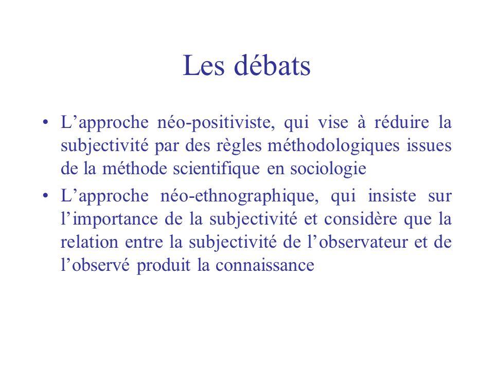 Les débats Lapproche néo-positiviste, qui vise à réduire la subjectivité par des règles méthodologiques issues de la méthode scientifique en sociologi