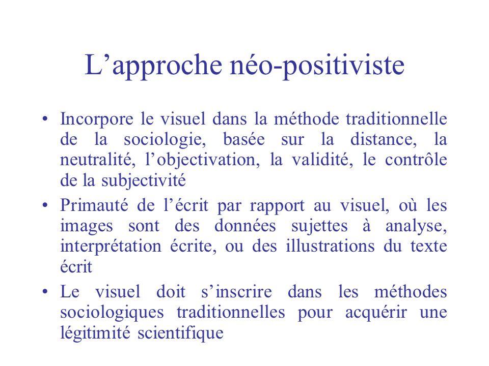 Lapproche néo-positiviste Incorpore le visuel dans la méthode traditionnelle de la sociologie, basée sur la distance, la neutralité, lobjectivation, l