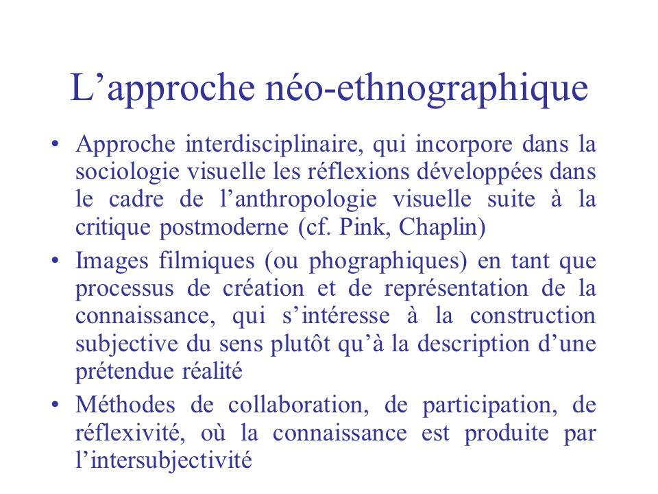 Lapproche néo-ethnographique Approche interdisciplinaire, qui incorpore dans la sociologie visuelle les réflexions développées dans le cadre de lanthr