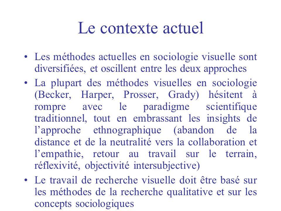 Le contexte actuel Les méthodes actuelles en sociologie visuelle sont diversifiées, et oscillent entre les deux approches La plupart des méthodes visu