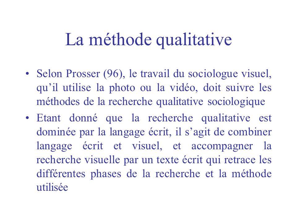 La méthode qualitative Selon Prosser (96), le travail du sociologue visuel, quil utilise la photo ou la vidéo, doit suivre les méthodes de la recherch