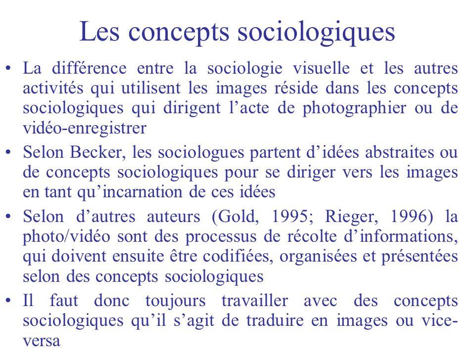 Les concepts sociologiques La différence entre la sociologie visuelle et les autres activités qui utilisent les images réside dans les concepts sociol