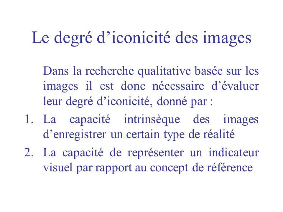 Le degré diconicité des images Dans la recherche qualitative basée sur les images il est donc nécessaire dévaluer leur degré diconicité, donné par : 1