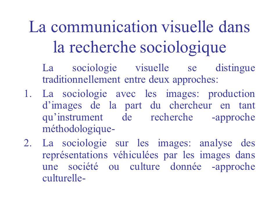 La communication visuelle dans la recherche sociologique La sociologie visuelle se distingue traditionnellement entre deux approches: 1.La sociologie