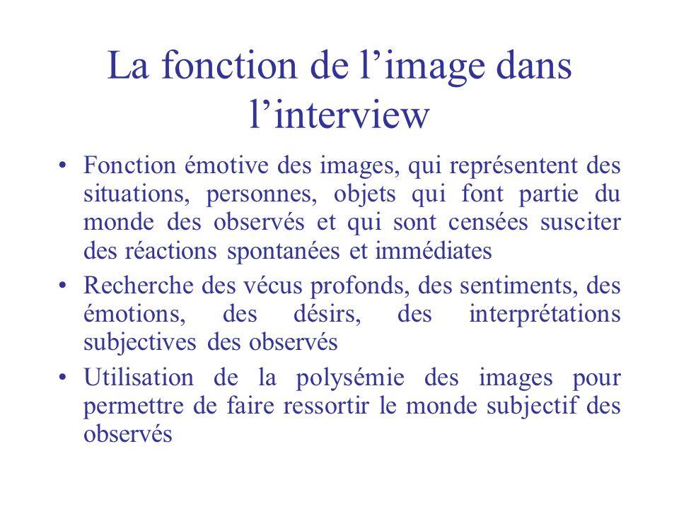 La fonction de limage dans linterview Fonction émotive des images, qui représentent des situations, personnes, objets qui font partie du monde des obs