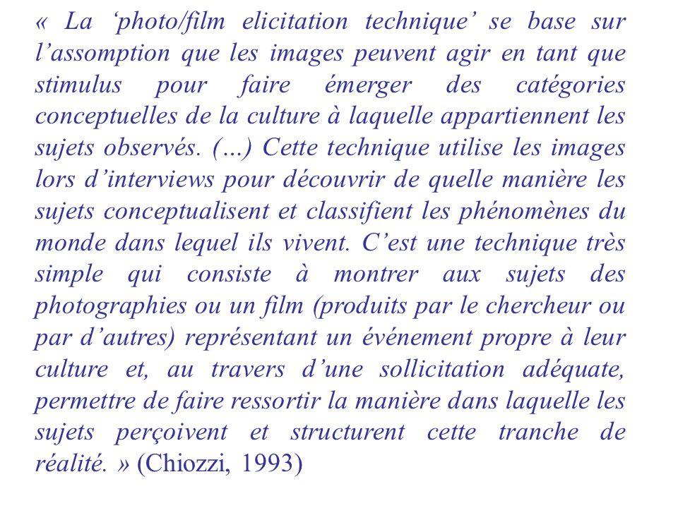 « La photo/film elicitation technique se base sur lassomption que les images peuvent agir en tant que stimulus pour faire émerger des catégories conce