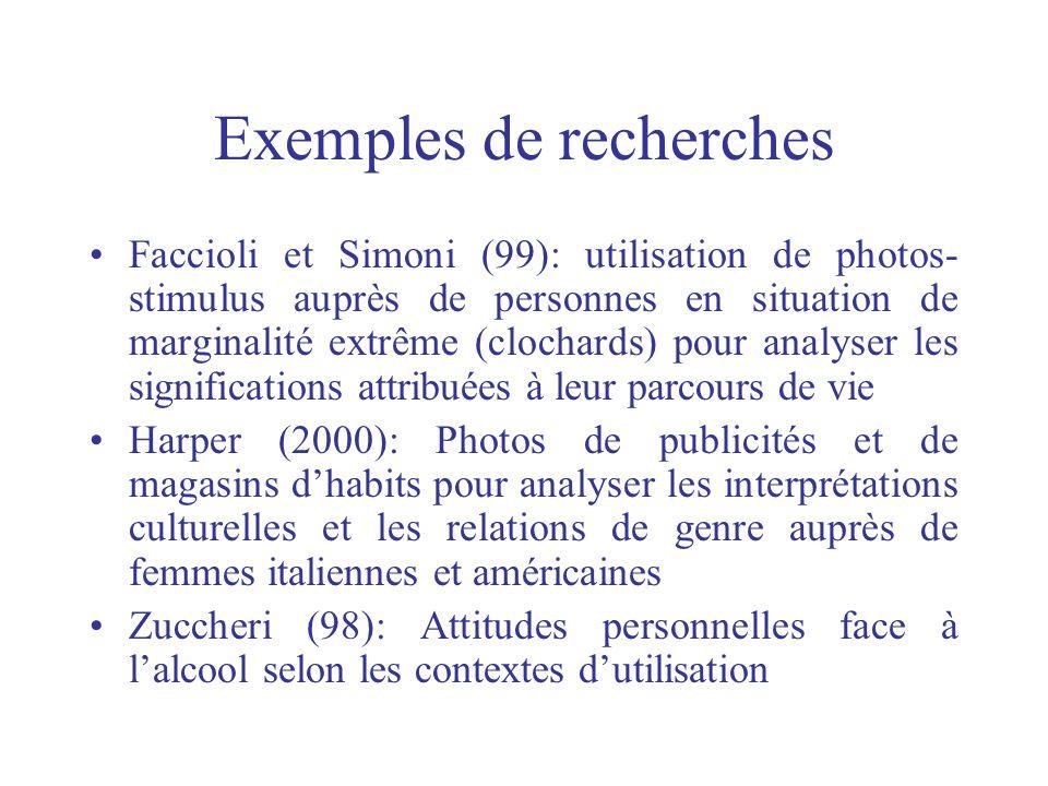 Exemples de recherches Faccioli et Simoni (99): utilisation de photos- stimulus auprès de personnes en situation de marginalité extrême (clochards) po
