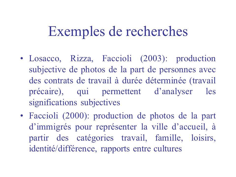 Exemples de recherches Losacco, Rizza, Faccioli (2003): production subjective de photos de la part de personnes avec des contrats de travail à durée d
