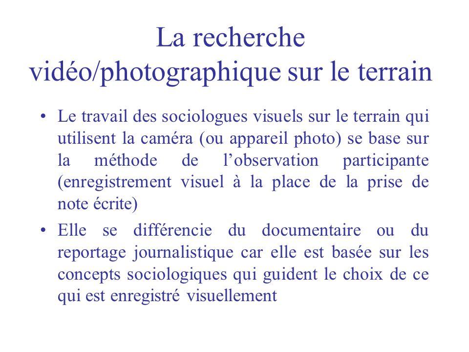 La recherche vidéo/photographique sur le terrain Le travail des sociologues visuels sur le terrain qui utilisent la caméra (ou appareil photo) se base