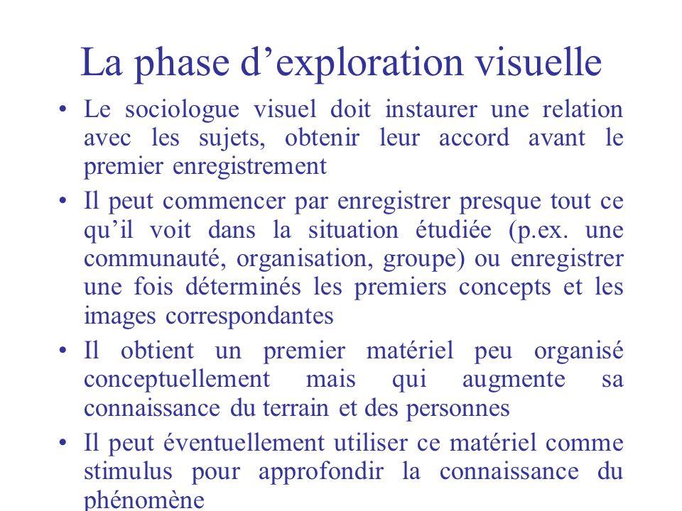 La phase dexploration visuelle Le sociologue visuel doit instaurer une relation avec les sujets, obtenir leur accord avant le premier enregistrement I