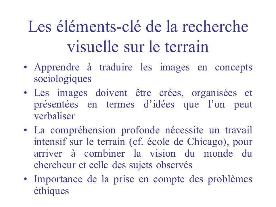 Les éléments-clé de la recherche visuelle sur le terrain Apprendre à traduire les images en concepts sociologiques Les images doivent être crées, orga