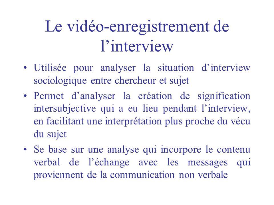 Le vidéo-enregistrement de linterview Utilisée pour analyser la situation dinterview sociologique entre chercheur et sujet Permet danalyser la créatio