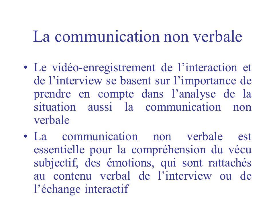 La communication non verbale Le vidéo-enregistrement de linteraction et de linterview se basent sur limportance de prendre en compte dans lanalyse de
