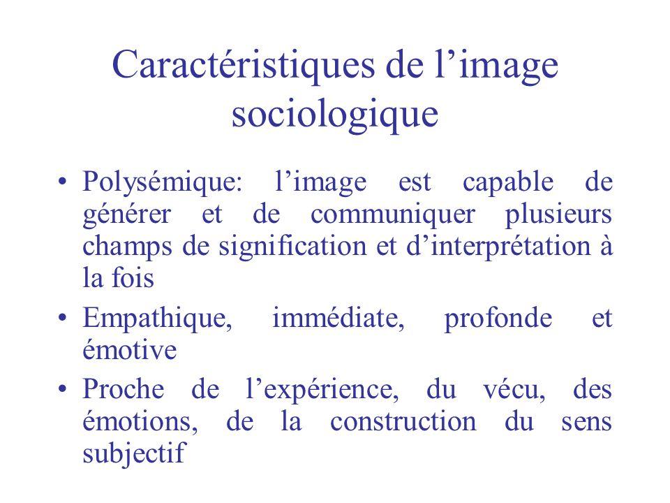 Caractéristiques de limage sociologique Polysémique: limage est capable de générer et de communiquer plusieurs champs de signification et dinterprétat