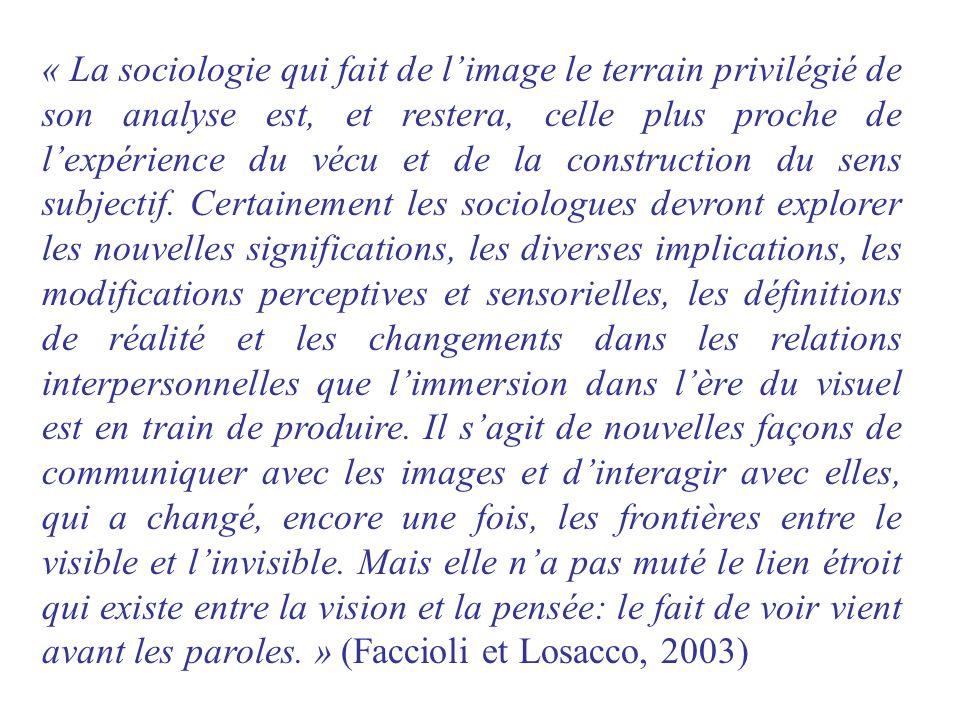 « La sociologie qui fait de limage le terrain privilégié de son analyse est, et restera, celle plus proche de lexpérience du vécu et de la constructio