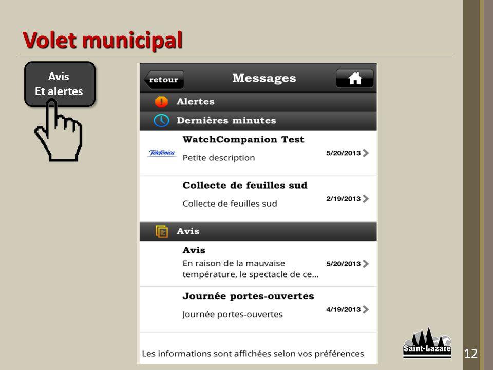 Avis Et alertes Avis Et alertes Volet municipal 12