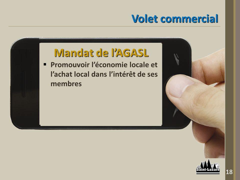 Volet commercial Mandat de lAGASL Promouvoir léconomie locale et lachat local dans lintérêt de ses membres 18