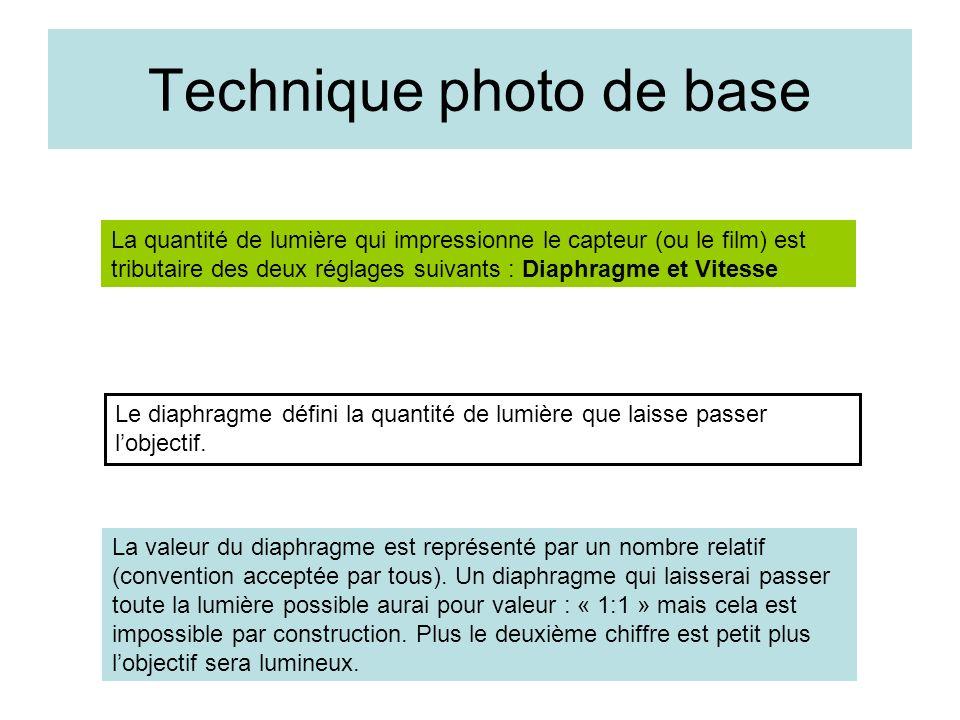 Technique photo de base La quantité de lumière qui impressionne le capteur (ou le film) est tributaire des deux réglages suivants : Diaphragme et Vite