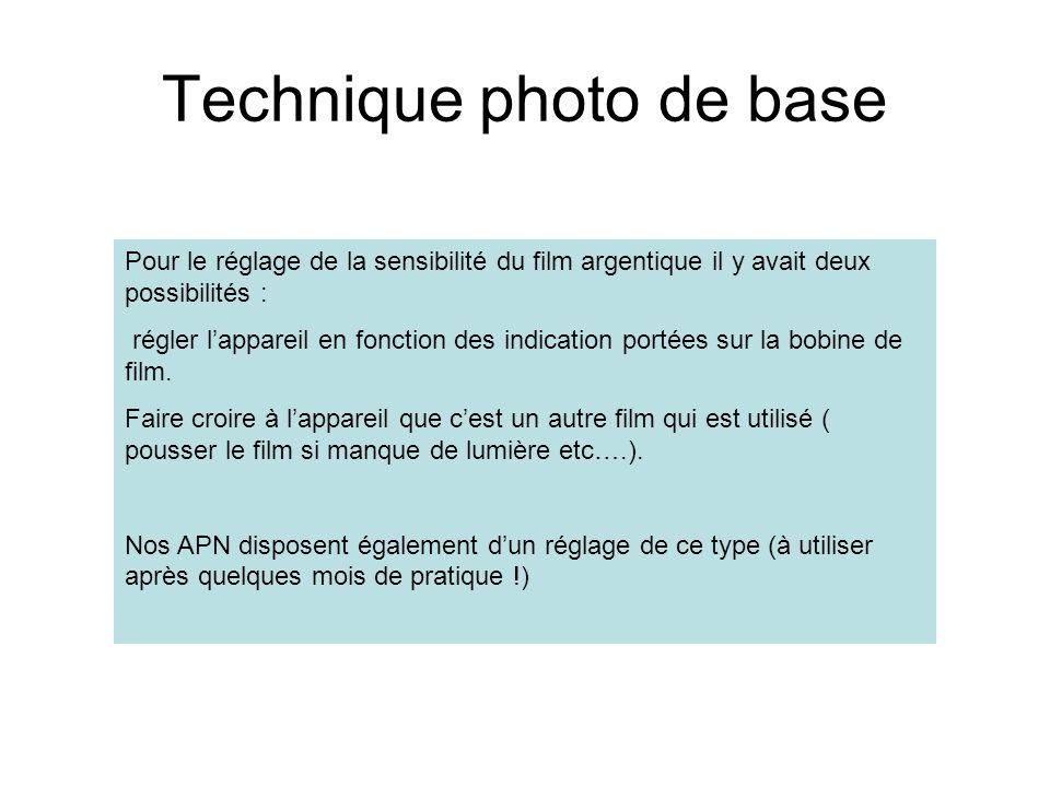 Technique photo de base Pour le réglage de la sensibilité du film argentique il y avait deux possibilités : régler lappareil en fonction des indicatio