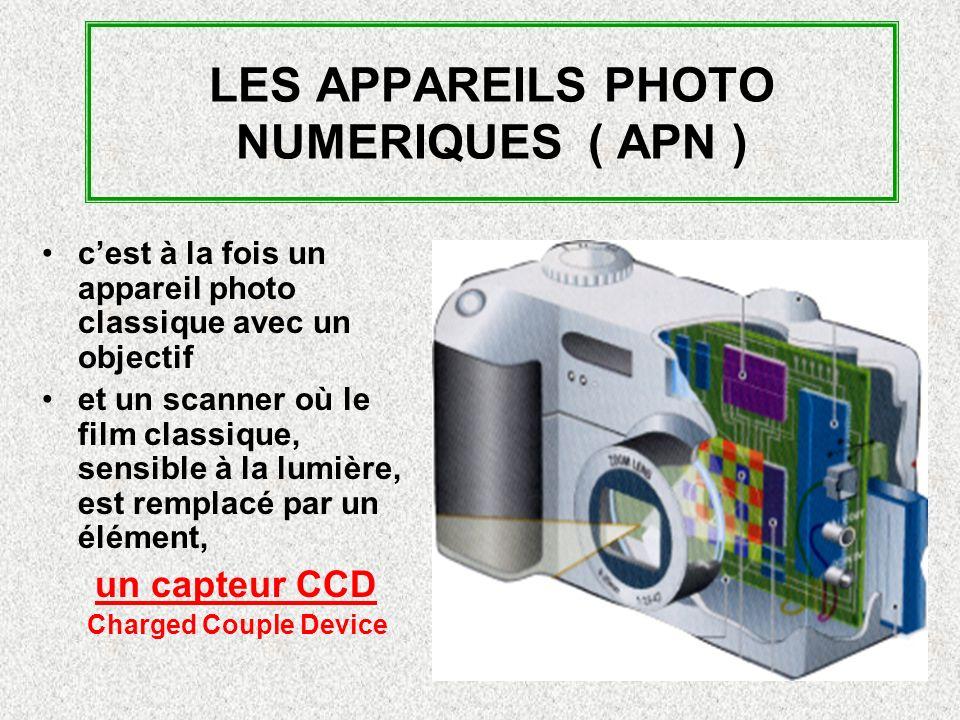 LES APPAREILS PHOTO NUMERIQUES ( APN ) cest à la fois un appareil photo classique avec un objectif et un scanner où le film classique, sensible à la lumière, est remplacé par un élément, un capteur CCD Charged Couple Device