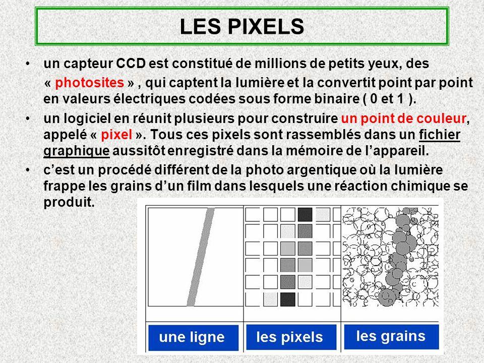 LES PIXELS un capteur CCD est constitué de millions de petits yeux, des « photosites », qui captent la lumière et la convertit point par point en valeurs électriques codées sous forme binaire ( 0 et 1 ).