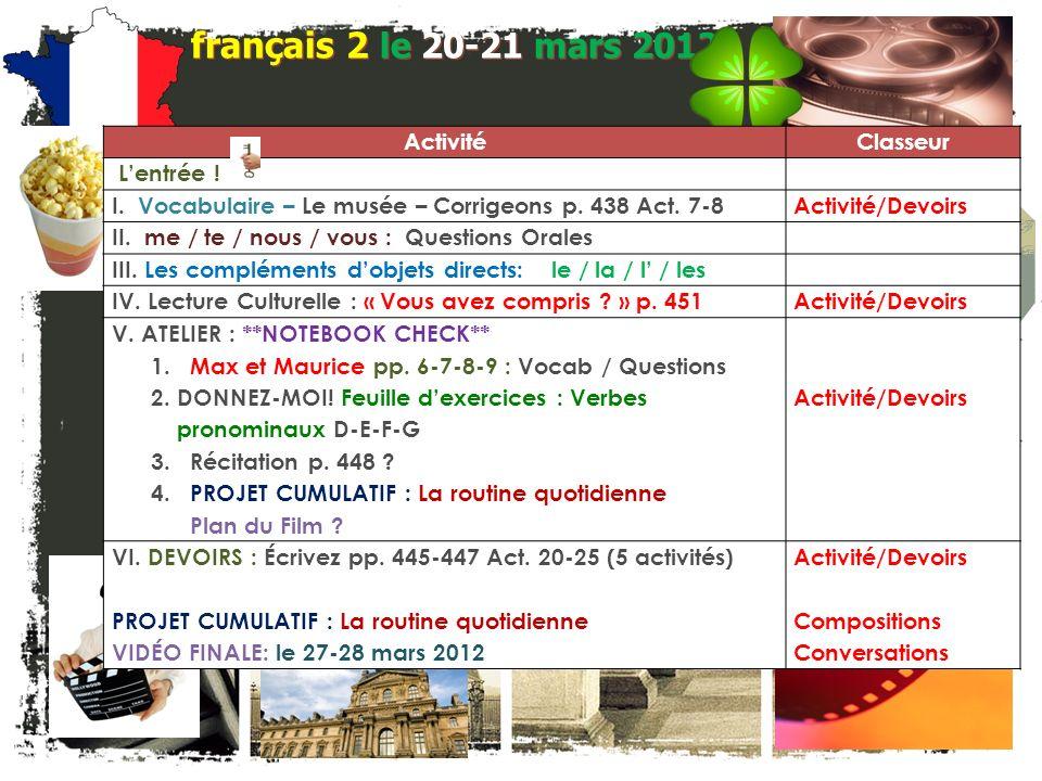 français 2 Le 20-21 mars 2012