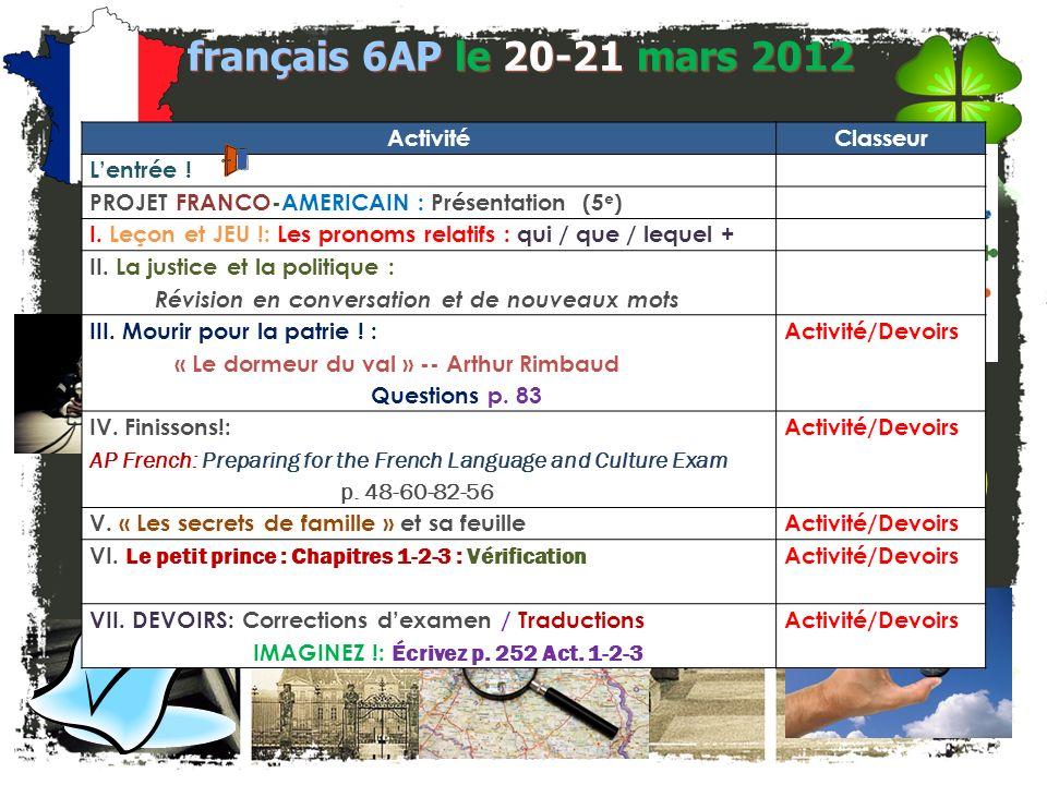 français 6AP Le 20-21 mars 2012