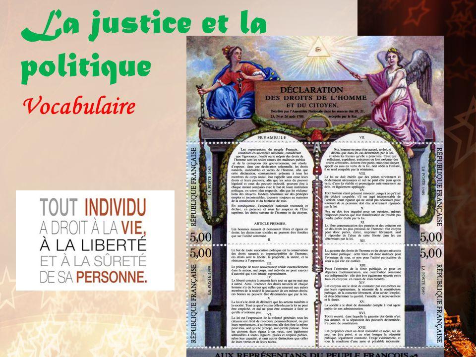 La justice et la politique Vocabulaire