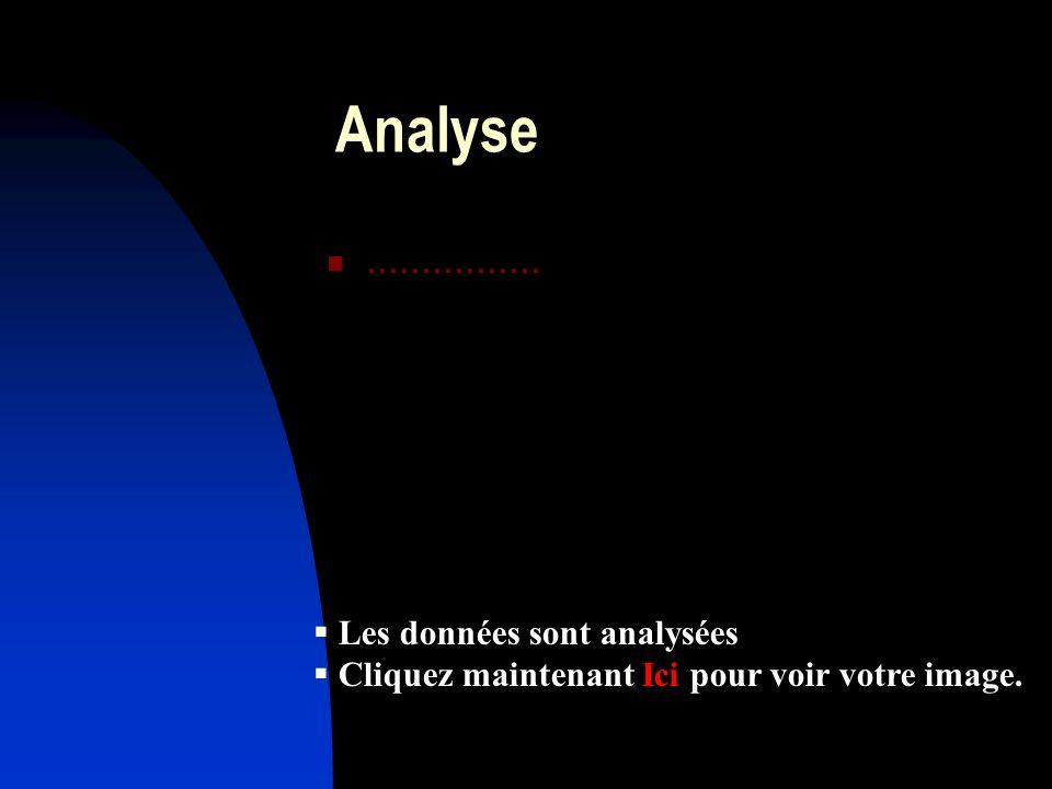 Analyse................ Les données sont analysées Les données sont analysées Cliquez maintenant Ici pour voir votre image. Cliquez maintenant Ici pou