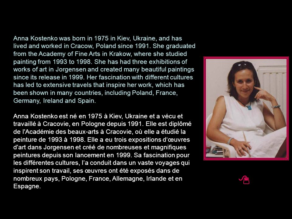Anna Kostenko was born in 1975 in Kiev, Ukraine, and has lived and worked in Cracow, Poland since 1991.