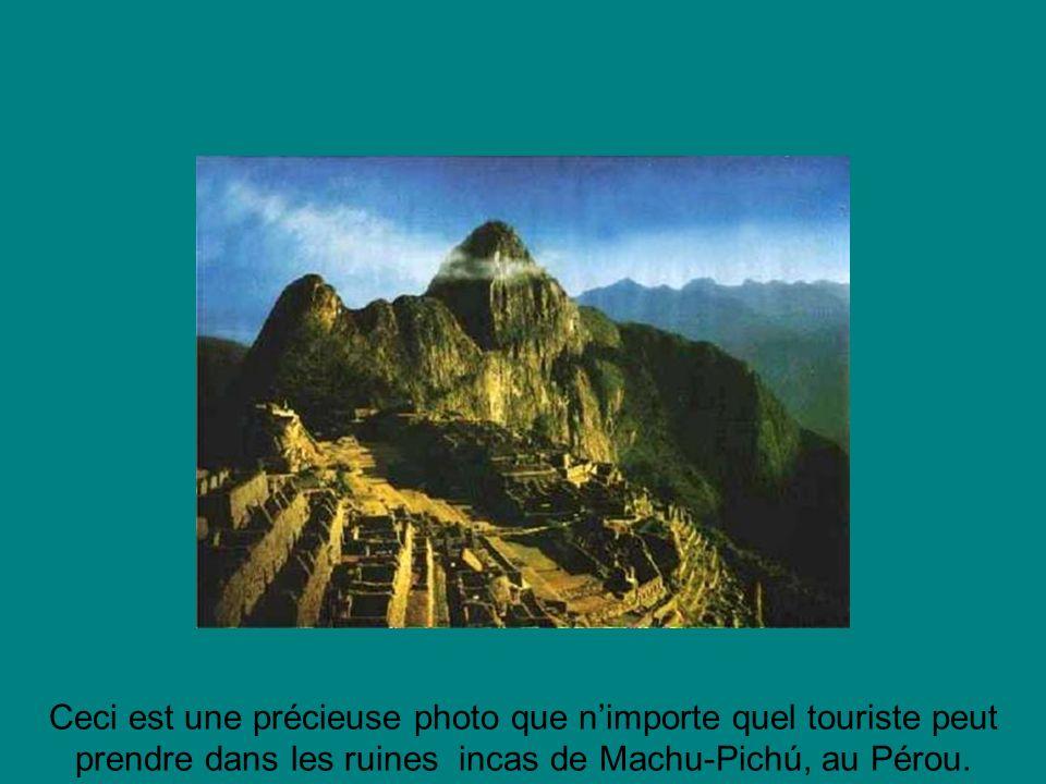 Ceci est une précieuse photo que nimporte quel touriste peut prendre dans les ruines incas de Machu-Pichú, au Pérou.
