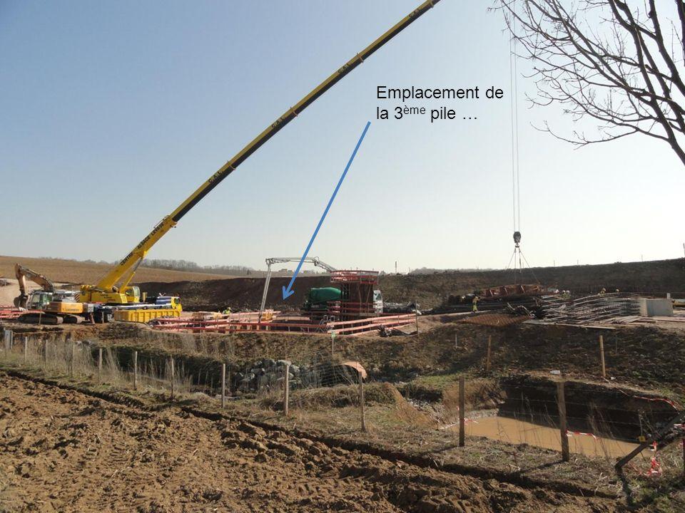 Construction des piles support du pont …la première pile est achevée! On aperçoit le village de Gougenheim
