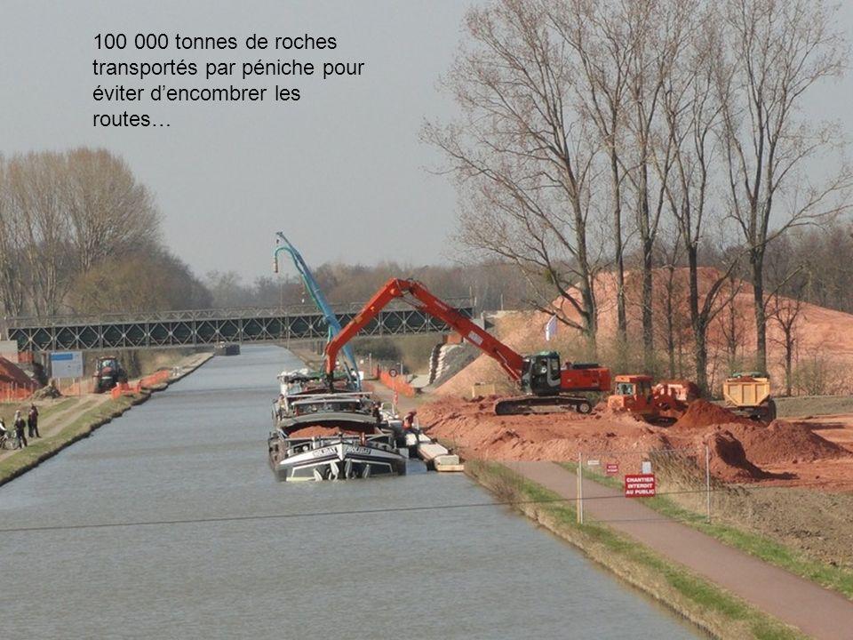 100 000 tonnes de roches transportés par péniche pour éviter dencombrer les routes…