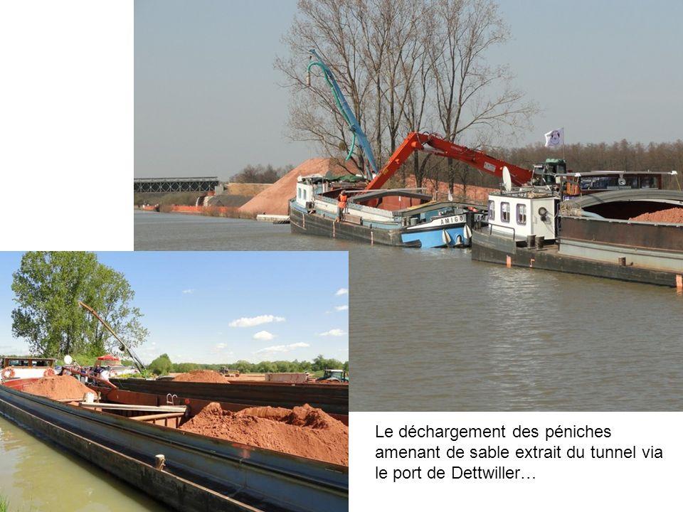 Le déchargement des péniches amenant de sable extrait du tunnel via le port de Dettwiller…
