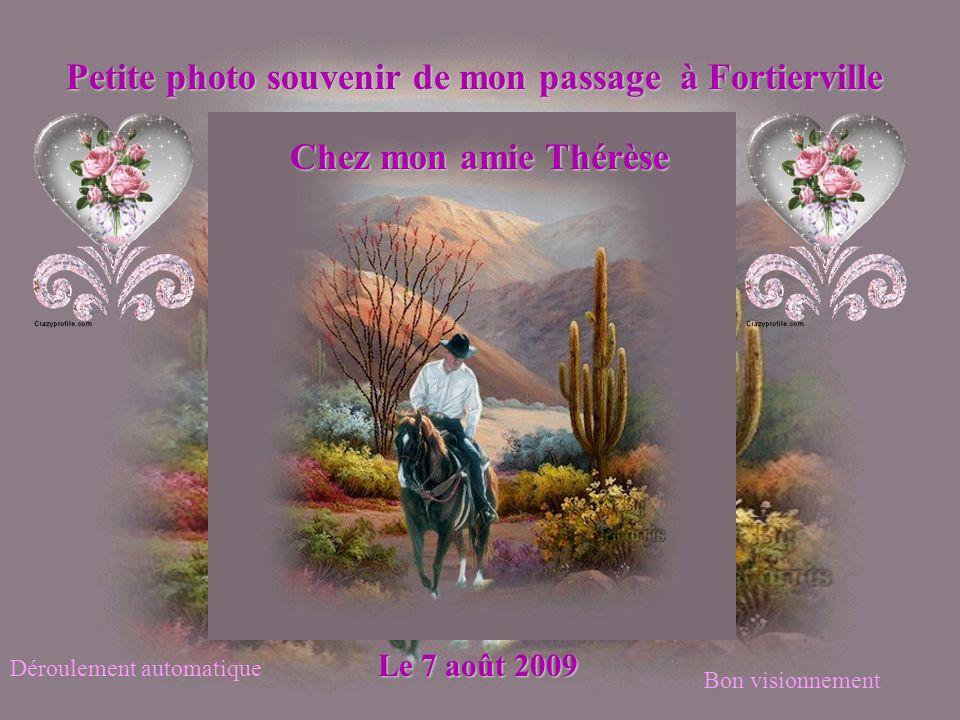 Petite photo souvenir de mon passage à Fortierville Chez mon amie Thérèse Le 7 août 2009 Déroulement automatique Bon visionnement