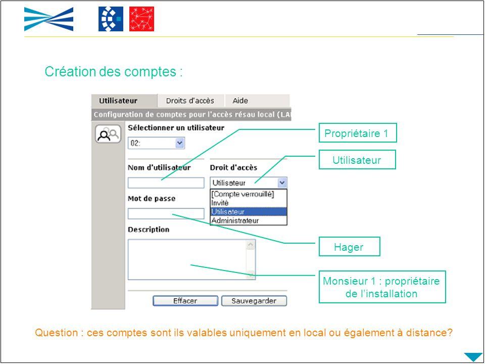 Propriétaire 1 Utilisateur Hager Monsieur 1 : propriétaire de linstallation Question : ces comptes sont ils valables uniquement en local ou également