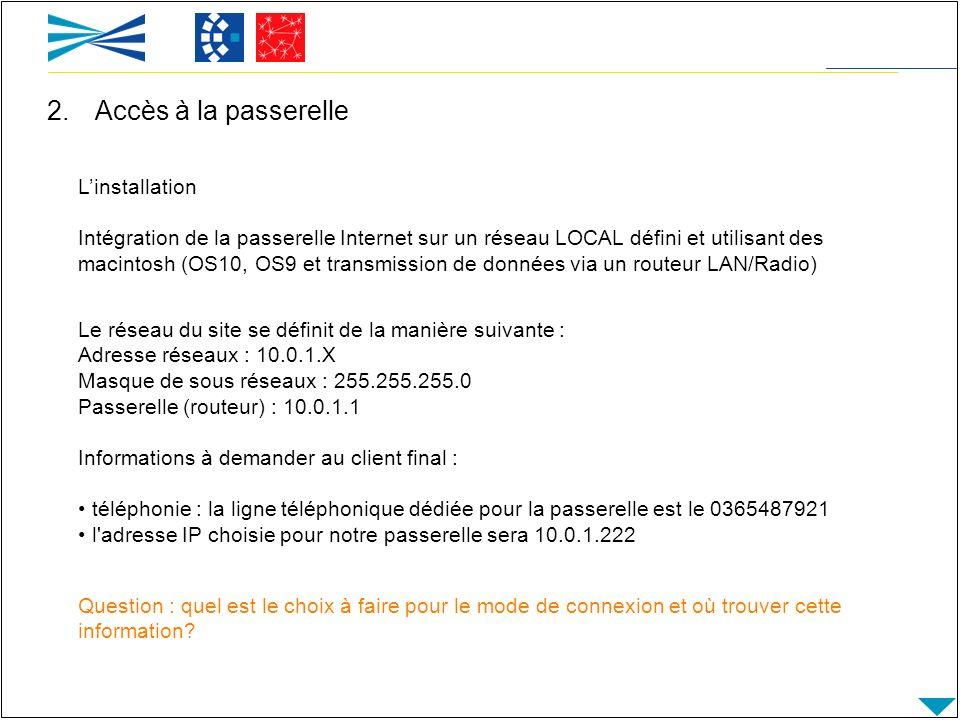 Le réseau du site se définit de la manière suivante : Adresse réseaux : 10.0.1.X Masque de sous réseaux : 255.255.255.0 Passerelle (routeur) : 10.0.1.