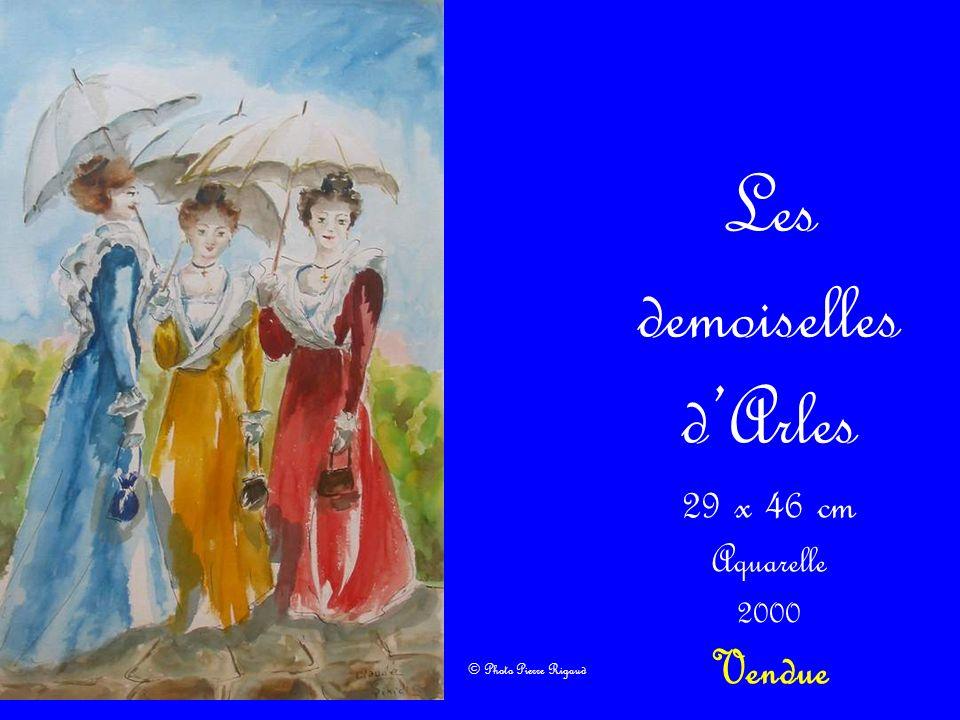 Les demoiselles dArles 29 x 46 cm Aquarelle 2000 Vendue © Photo Pierre Rigaud
