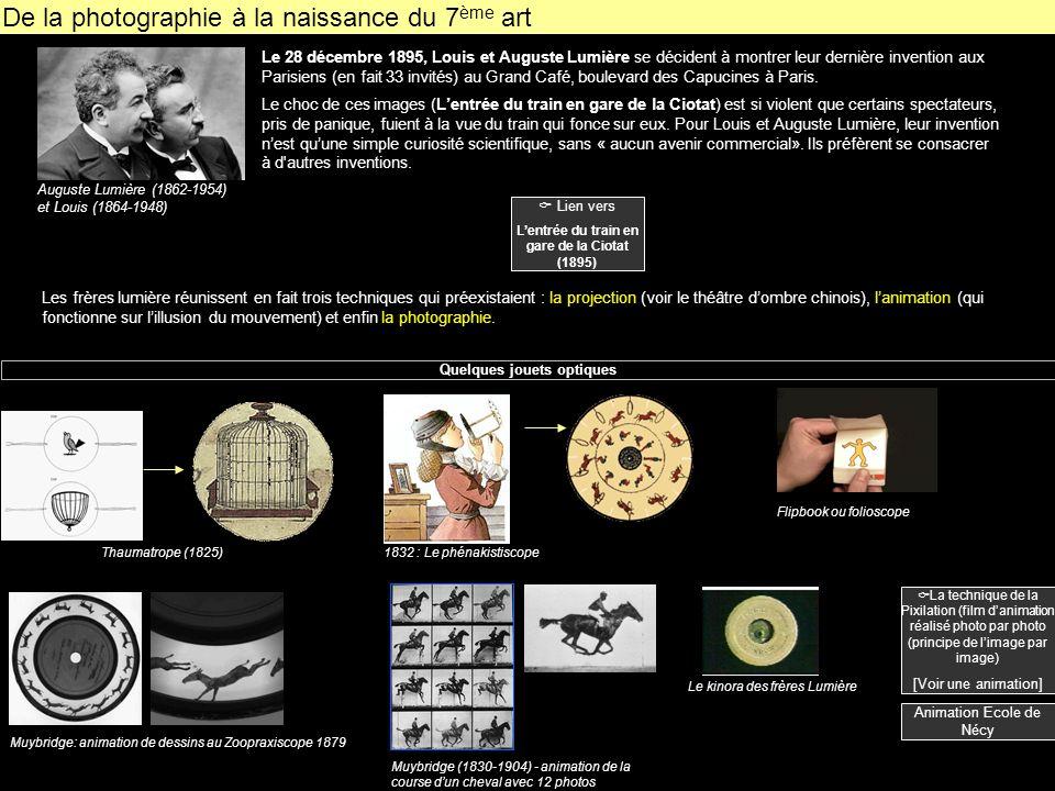 De la photographie à la naissance du 7 ème art Le 28 décembre 1895, Louis et Auguste Lumière se décident à montrer leur dernière invention aux Parisie