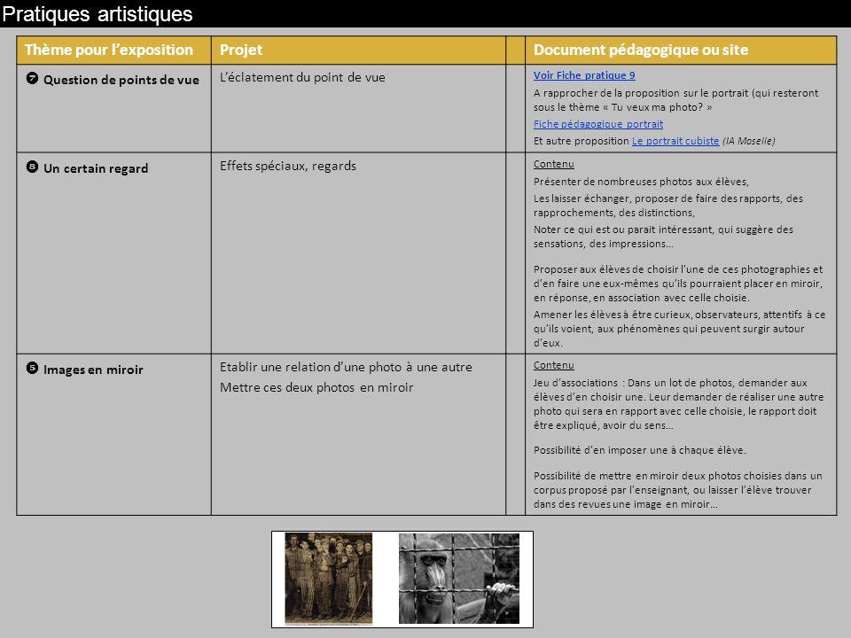 Pratiques artistiques Thème pour lexpositionProjetDocument pédagogique ou site Question de points de vue Léclatement du point de vue Voir Fiche pratique 9 A rapprocher de la proposition sur le portrait (qui resteront sous le thème « Tu veux ma photo.