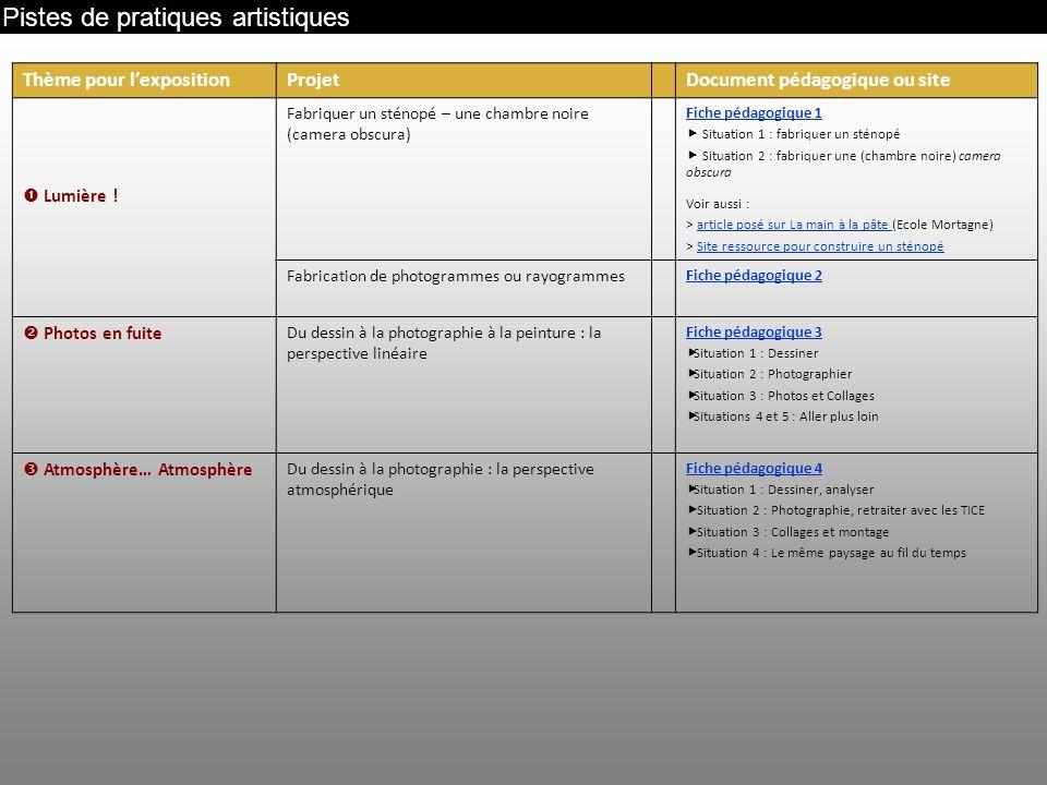 Pistes de pratiques artistiques Thème pour lexpositionProjetDocument pédagogique ou site Lumière ! Fabriquer un sténopé – une chambre noire (camera ob