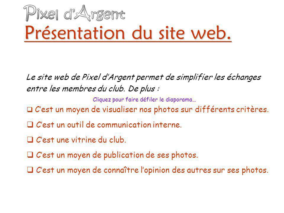 Le site web : Pour visual iser nos photos sur différents critères Les internautes ( dont les membres du club ) Y-a til de nouvelles photos publiées sur ce site .