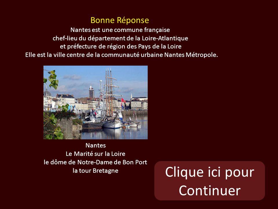 Clique ici pour Continuer Nantes Le Marité sur la Loire le dôme de Notre-Dame de Bon Port la tour Bretagne Bonne Réponse Nantes est une commune française chef-lieu du département de la Loire-Atlantique et préfecture de région des Pays de la Loire Elle est la ville centre de la communauté urbaine Nantes Métropole.