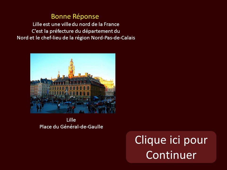 Clique ici pour Continuer Lille Place du Général-de-Gaulle Bonne Réponse Lille est une ville du nord de la France C est la préfecture du département du Nord et le chef-lieu de la région Nord-Pas-de-Calais